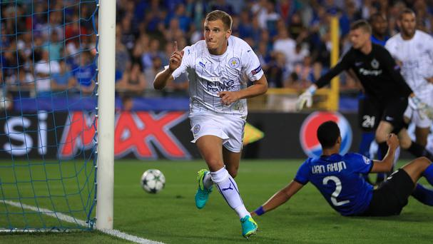 Marc Albrighton celebrates his opener and Leicester's first-ever Champions League goal in their 3-0 win at Club Brugge