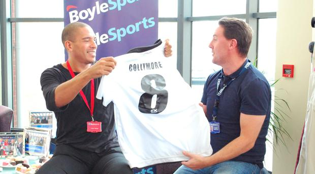 Stan Collymore with Leon Blanche of Boylesports in Dundalk Pic: @Boylesports/Twitter