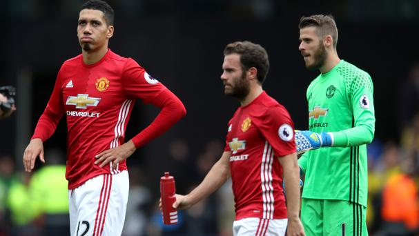 Juan Mata (centre) came off the bench in Sunday's Premier League defeat at Watford