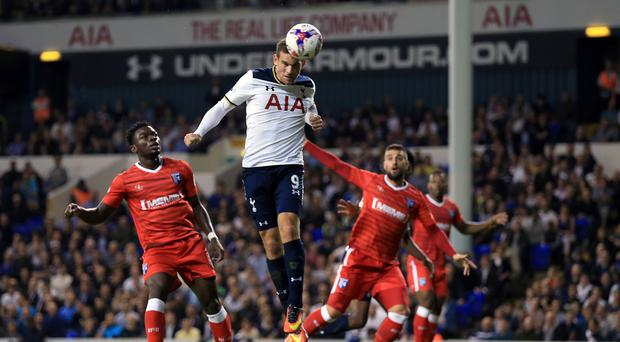 Vincent Janssen scored from the penalty spot in Tottenham's 5-0 EFL Cup win over Gillingham