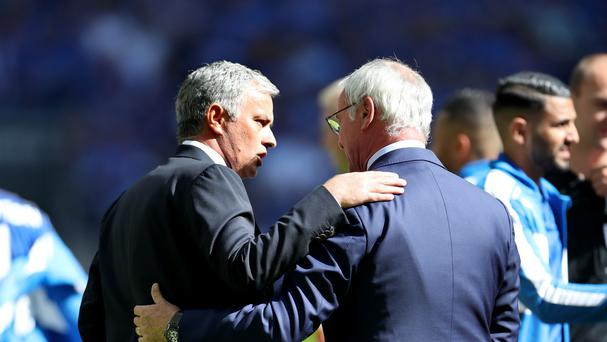 Manchester United manager Jose Mourinho and Leicester boss Claudio Ranieri, right, will lock horns again this weekend