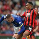 Everton's Ross Barkley (left) and Bournemouth's match winner Junior Stanislas battle for the ball