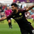 Sergio Aguero scored twice as Manchester City sustained their 100 per cent start to the new Premier League season