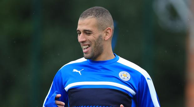 Leicester's Islam Slimani trains ahead of the Foxes' Champions League game with Porto on Tuesday