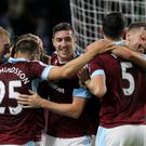 Burnley's players celebrate against Watford
