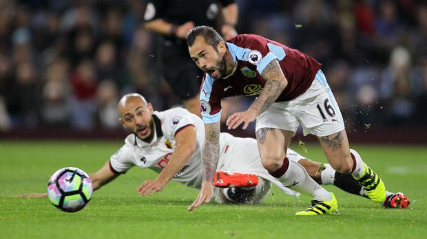 Steven Defour, right, in action for Burnley