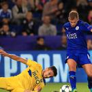 Leicester's Marc Albrighton (right) beats Porto's Alex Telles in the Foxes' 1-0 win on Tuesday