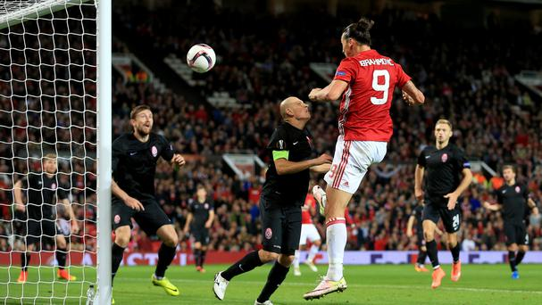 Zlatan Ibrahimovic, right, heads Manchester United's winner
