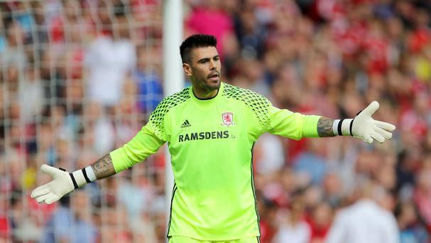Middlesbrough goalkeeper Victor Valdes, pictured, was involved in a heated exchange with team-mate Adam Clayton
