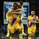 Christian Benteke celebrates scoring the equaliser