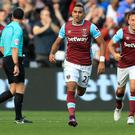 West Ham's Dimitri Payet, second right, celebrates his superb solo goal against Boro