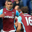 Dimitri Payet, left, scored a stunning solo goal as West Ham drew with Middlesbrough