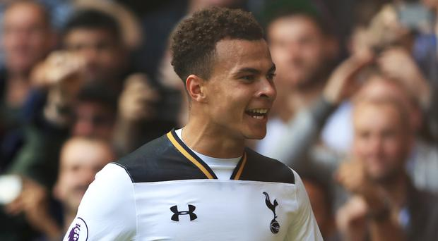 Dele Alli celebrates scoring Tottenham's second goal