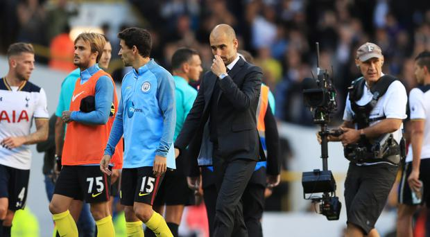 Pep Guardiola saw his Manchester City side lose at Tottenham, his first defeat as manager of the Premier League side