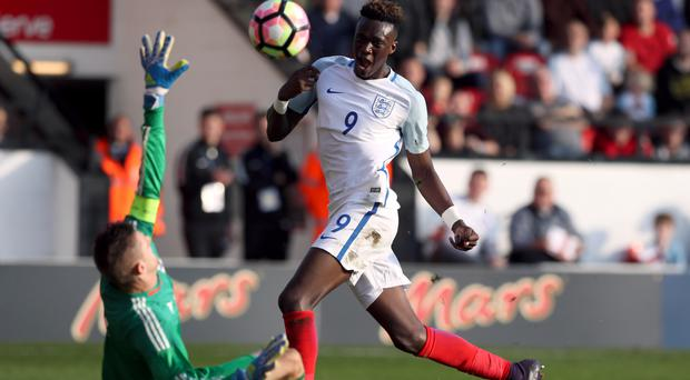 Tammy Abraham scores his second goal in England Under-21s' 5-0 win over Bosnia on Tuesday