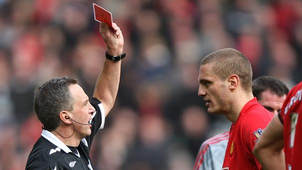 Former Manchester United captain Nemanja Vidic was sent off four times in matches against Liverpool
