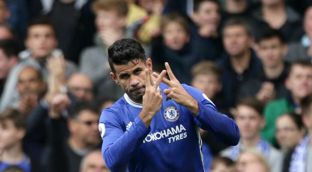 Chelsea's Diego Costa celebrates scoring his goal