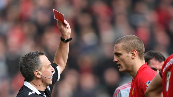 Former Manchester United captain Nemanja Vidic was sent off four times against Liverpool