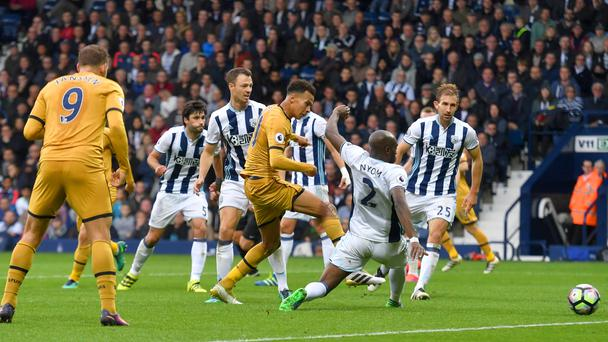 Tottenham's Dele Alli scores their leveller in Saturday's 1-1 draw at West Brom
