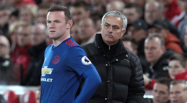 Wayne Rooney, left, with Jose Mourinho