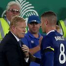 Everton boss Ronald Koeman, left, hopes Ross Barkley, right, heeds his recent