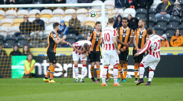 Xherdan Shaqiri curls in a free-kick as Stoke win at Hull