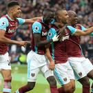 Winston Reid, second right, was West Ham's match-winner