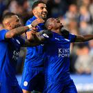 Leicester celebrate Ahmed Musa's first goal for the club