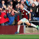 Burnley's Scott Arfield celebrates his winner against Everton