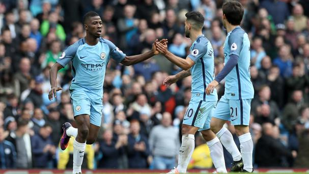Manchester City's Kelechi Iheanacho, left, celebrates his equaliser against Southampton