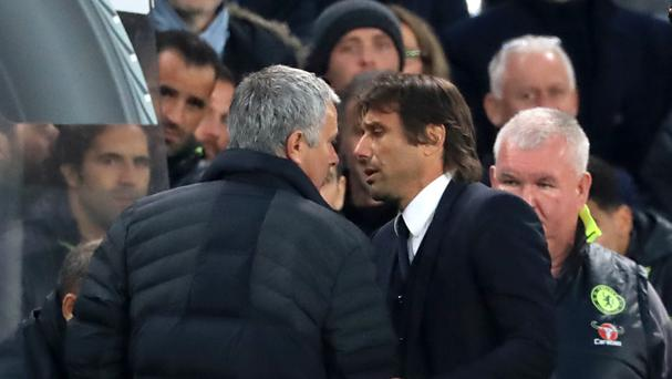 Manchester United manager Jose Mourinho and Chelsea boss Antonio Conte exchanged words at the end of Sunday's Premier League match