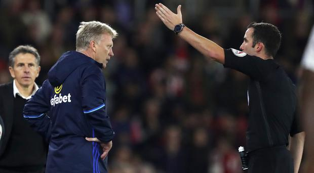 David Moyes is sent to the stands by referee Chris Kavanagh against Southampton
