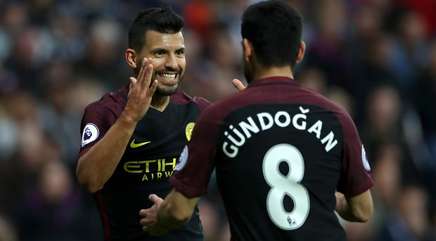 Sergio Aguero and Ilkay Gundogan were both on the scoresheet for Manchester City. Photo: PA