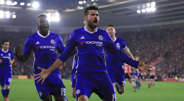 Diego Costa celebrates after netting Chelsea's second goal