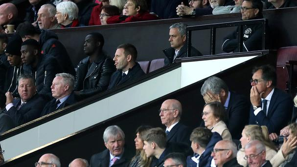 Jose Mourinho, pictured top centre, was sent to the stands for the second half on Saturday