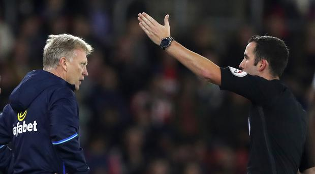 Sunderland manager David Moyes, left, was sent off by referee referee Chris Kavanagh towards the end of the EFL Cup tie at Southampton
