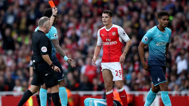 Granit Xhaka was sent off in Arsenal's recent victory over Swansea