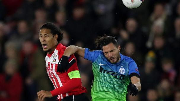 Virgil van Dijk, left, impressed during the Europa League win over Inter Milan