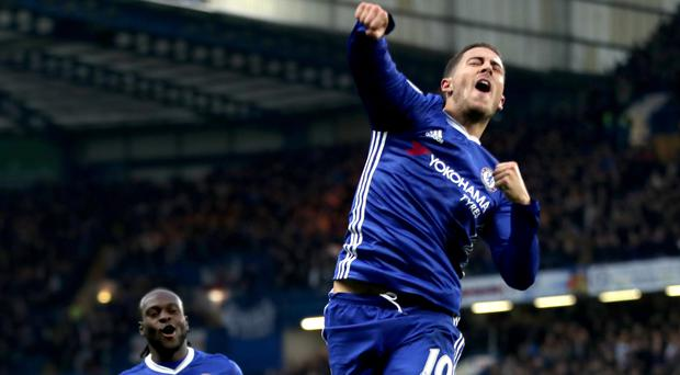 Chelsea's Eden Hazard was the star of the show as the Blues beat Everton 5-0 to go top of the Premier League