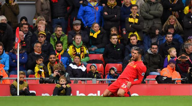 Emre Can celebrates one of Liverpool's six goals