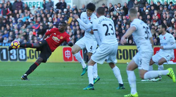 Paul Pogba puts Manchester United ahead with a brilliant volley