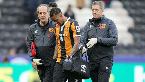 Hull City's Abel Hernandez suffered a groin injury against Southampton