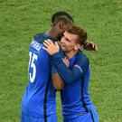 France's Paul Pogba (left) and Antoine Griezmann
