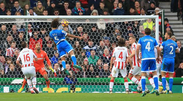 Nathan Ake heads in the only goal of the game