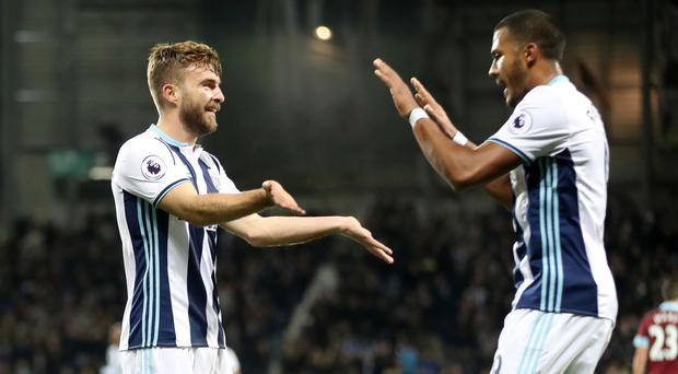 West Brom goalscorers James Morrison, left, and Salomon Rondon celebrate together on Monday night