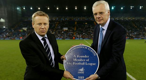 West Brom chief executive Mark Jenkins, left, is to leave his role at the club
