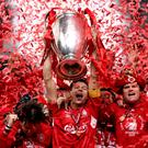 Steven Gerrard lifts the Champions League trophy in 2005