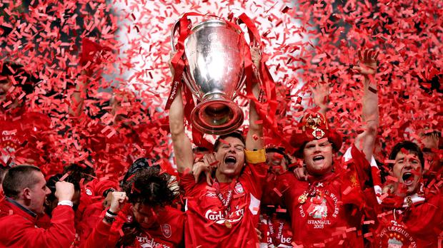 Steven Gerrard lifts the Champions League trophy in Istanbul back in 2005