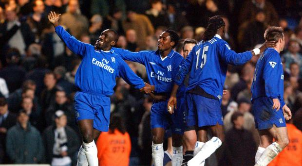 Jimmy Floyd Hasselbaink, left, scored a hat-trick for Chelsea against Tottenham in March 2002