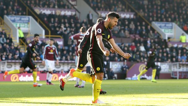 Manchester City striker Sergio Aguero scored twice at Turf Moor